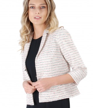Lace and cotton jacket with effect wire