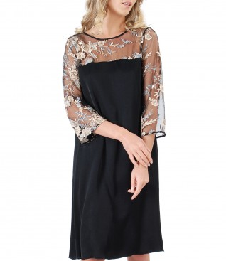 Viscose and lace dress with floral motifs