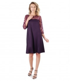 Viscose and lace dress with sequins