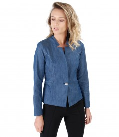 Denim jacket with decorative seam
