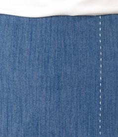 Denim skirt with decorative seam