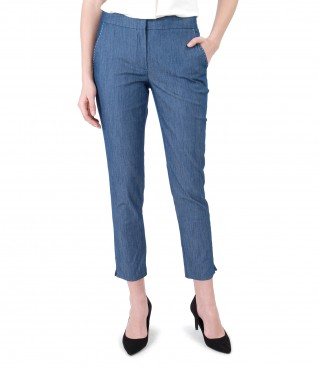 Denim pants with decorative seam