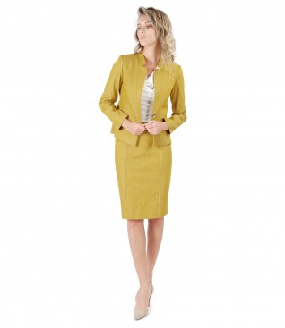 Office women suit with jacket and denim skirt with decorative seam