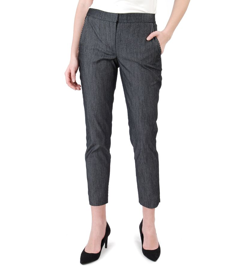 Denim pants with decorative seam