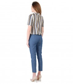 Cotton pants, denim type and viscose blouse with stripes