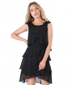 Elegant dress with veil flounces and Swarovski pearls inserts