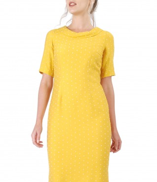 Viscose dress embroidered with lace corner