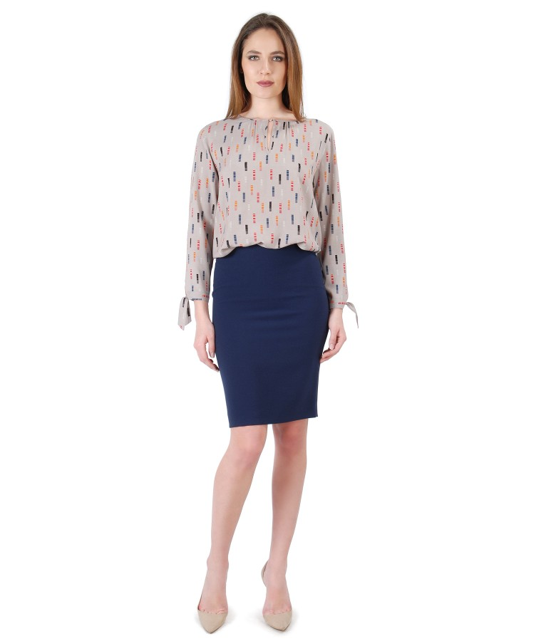 Viscose blouse with long sleeves and tapered skirt