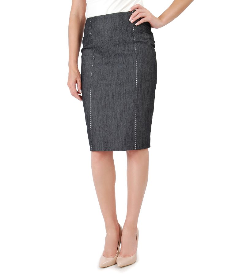 Denim skirt with decorative seam