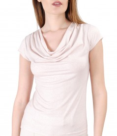 Elastic jersey blouse with glossy effect
