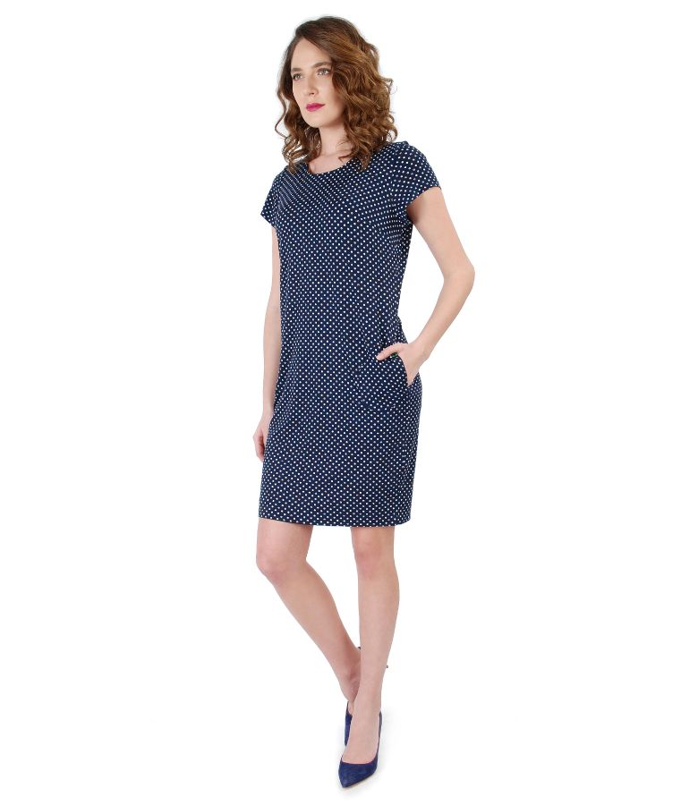Elastic jersey dress printed with lace corner