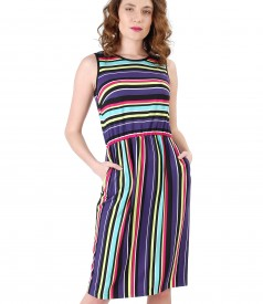 Viscose dress printed with stripes
