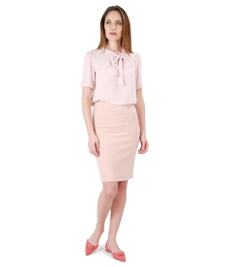 Office outfit with blouse with scarf collar and tapered skirt