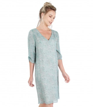 Casual viscose dress with print and crystals