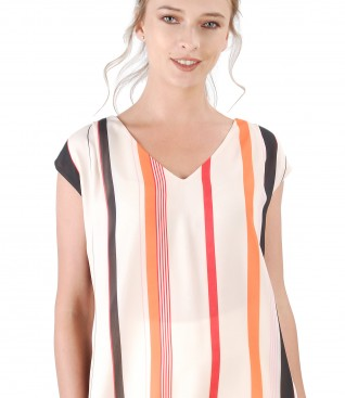 Blouse with front printed with stripes