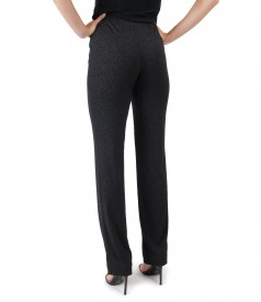 Elegant pants made of elastic jersey with glossy effect