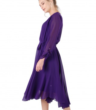 Veil dress with satin slip and crystals on the sleeve
