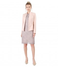 Elegant outfit with printed viscose dress and jacket