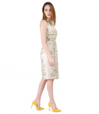Viscose elegant dress with floral print