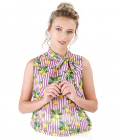 Printed veil blouse with scarf collar