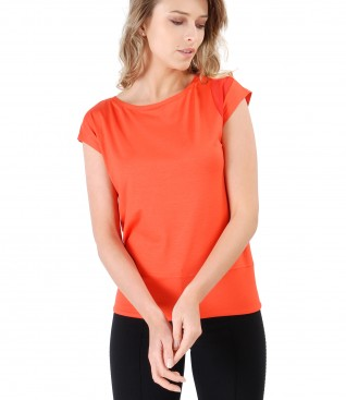 Elastic jersey t-shirt with veil trim