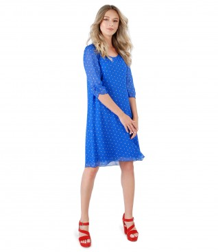 Casual viscose dress with lace corner print