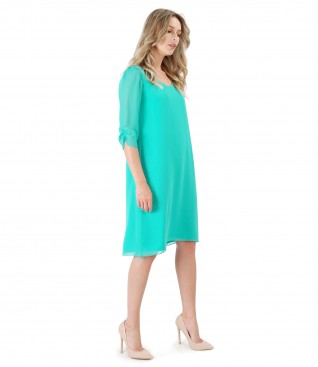 Casual veil dress with crystals inserts