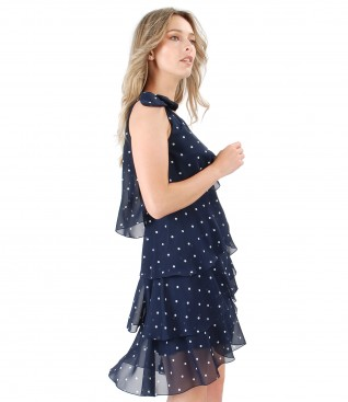 Elegant dress with veil printed frill with lace corner and Swarovski pearls inserts