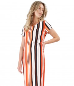 Casual viscose dress printed with stripes