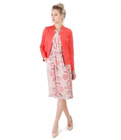 Elegant outfit with cotton jacket denim style and dress with floral print