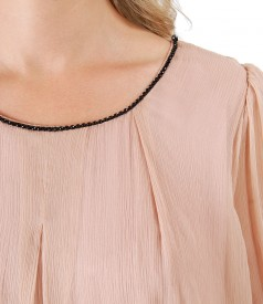 Silk dress with Swarovski crystals inserts on decolletage