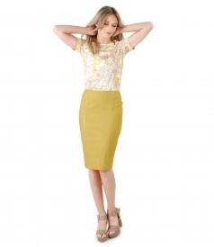 Cotton office skirt denim style with elastic jersey blouse
