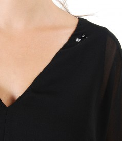 Butterfly blouse with Swarovski crystals on the decolletage