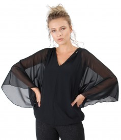 Butterfly blouse with crystals on the decolletage