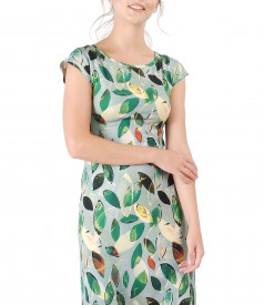 Thin jersey dress with floral print