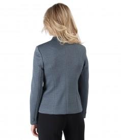 Elastic brocade jacket with geometric motifs