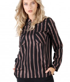 Viscose blouse with metallic wire