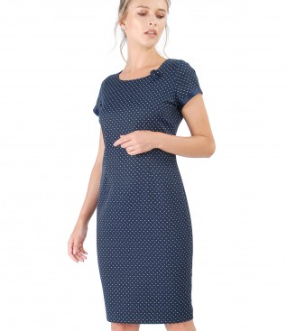 Elegant cotton dress with Swarovski pearls inserts