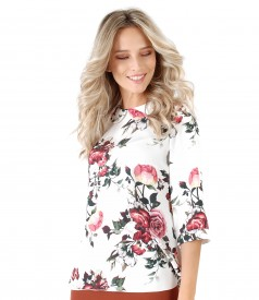 Viscose blouse with roses print