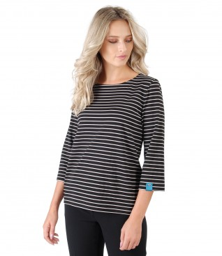Thick jersey blouse with stripes
