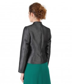 Elegant jacket made of fabric with glossy effect