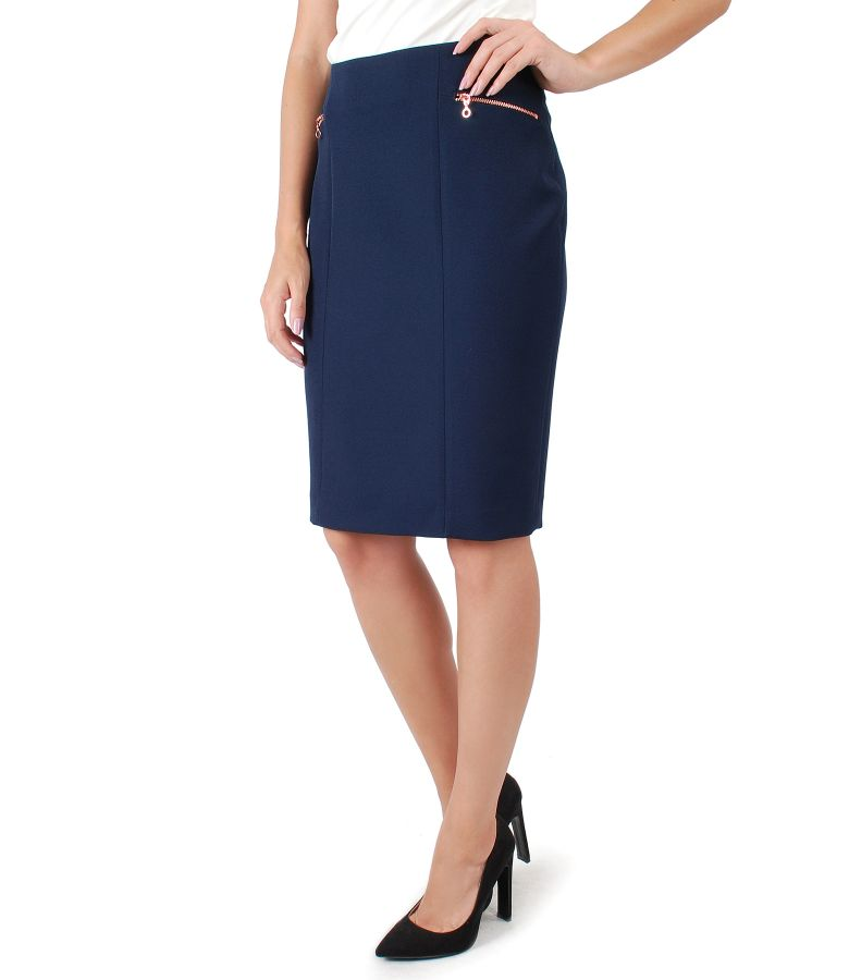 Office skirt with metallic zipper