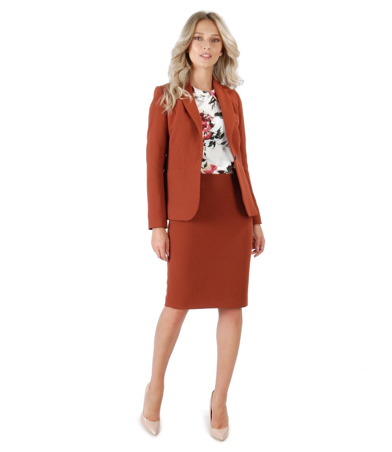 Office outfit with skirt and elastic fabric jacket