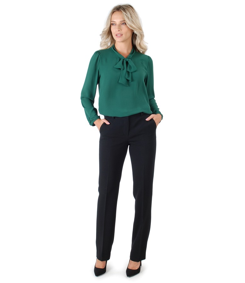 Pants with blouse with scarf collar