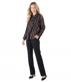 Straight pants and blouse with stripes with metallic thread