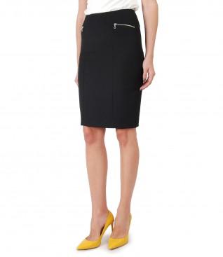 Office skirt with metallic zipper