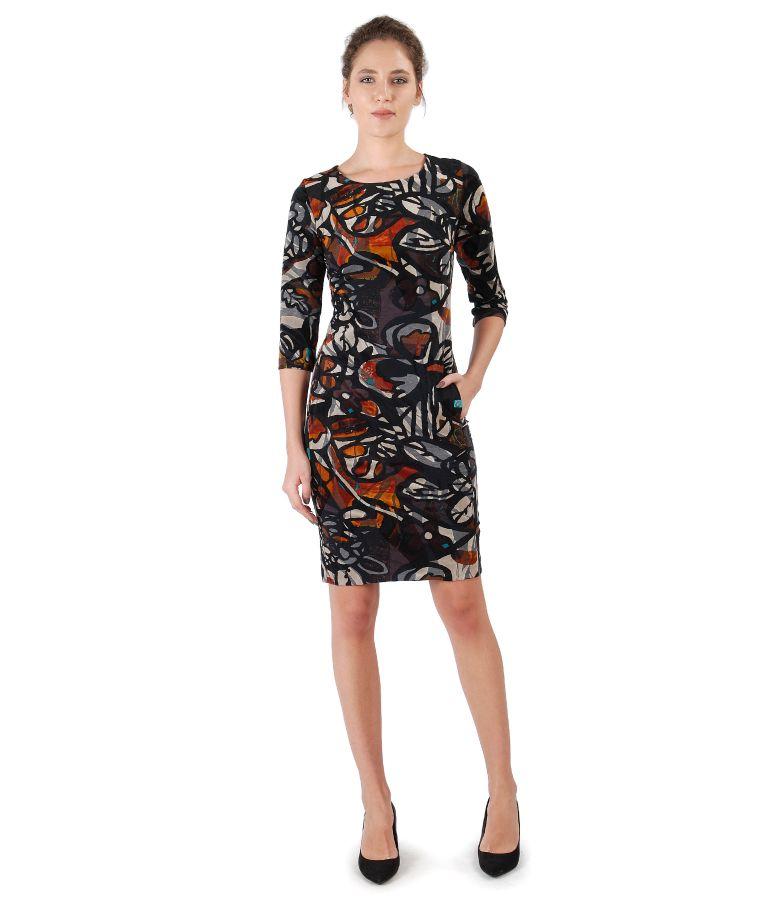 Velvet dress with floral brocade