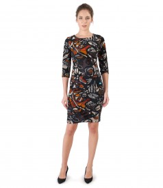 Velvet dress with floral brocade