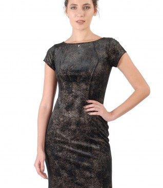 Velvet dress with golden print and Swarovski crystals inserts