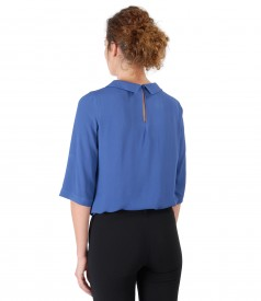 Viscose blouse with round collar
